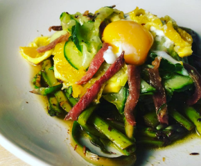 Salad of Soured Greens with Anchovies and Egg yolk
