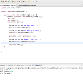 Java Post 1: Gumballs perKid